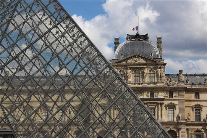 Louvre Palace and triangle glass pyramid in Paris.