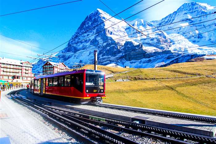 Jungfrau Railways train, connecting Kleine Scheidegg to Jungfraujoch. Switzerland