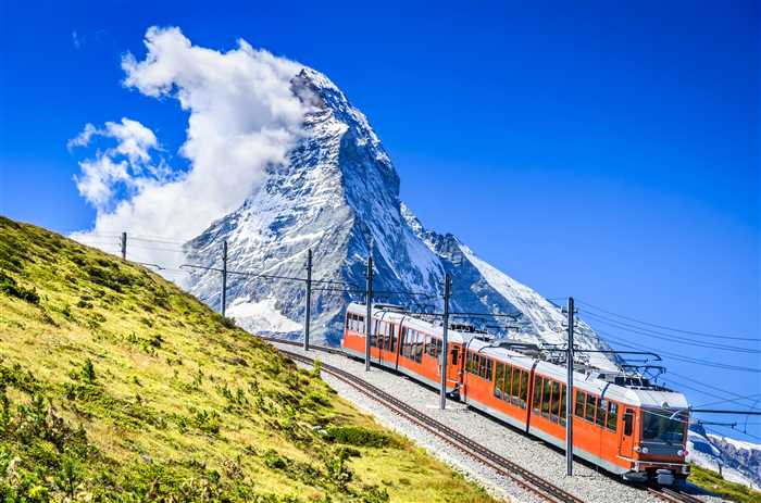 Swiss Travel Pass - Matterhorn, Switzerland. Gornergratbahn is a 9 km long gauge mountain rack railway leading from Zermatt