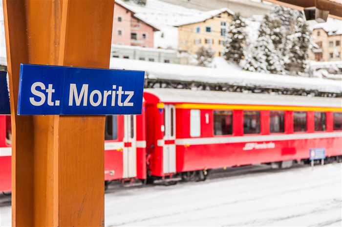 Swiss Travel Pass - St. Moritz Train Station in Switzerland