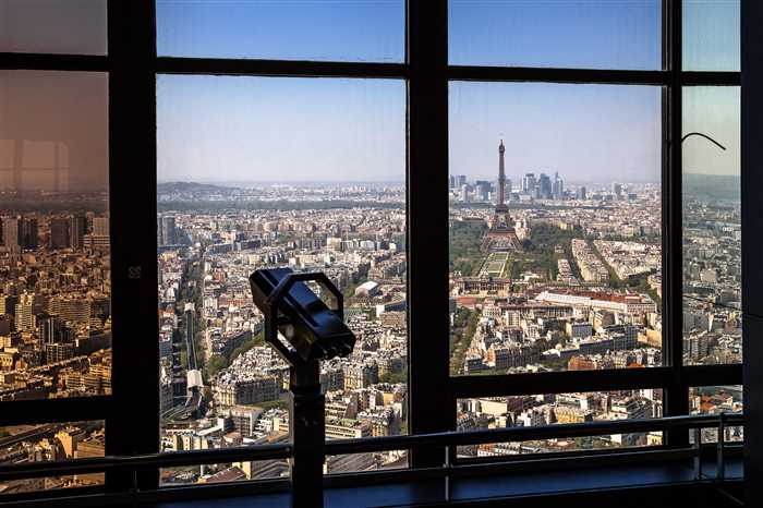 View of Paris from the Montparnasse Tower with Champ de Mars, Eiffel Tower and La Defense in the Background