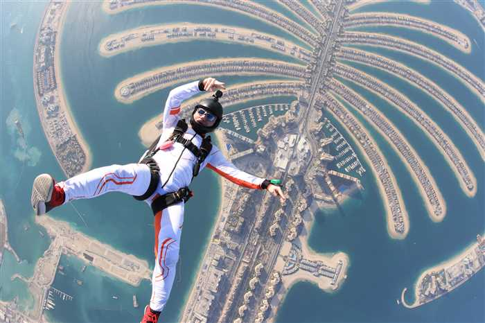 Dubai Palm. Outdoor skydiving.
