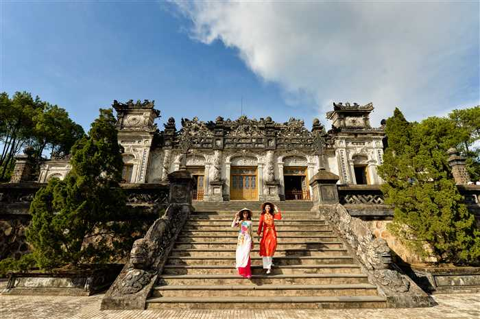 Grand stairs in Imperial Khai Dinh Tomb in Hue ,Vietnam