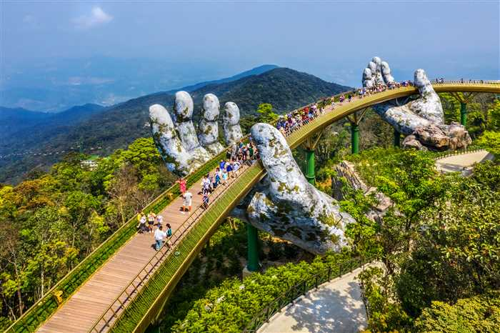 Golden Bridge in the tourist resort on Ba Na Hill in Da Nang, Vietnam