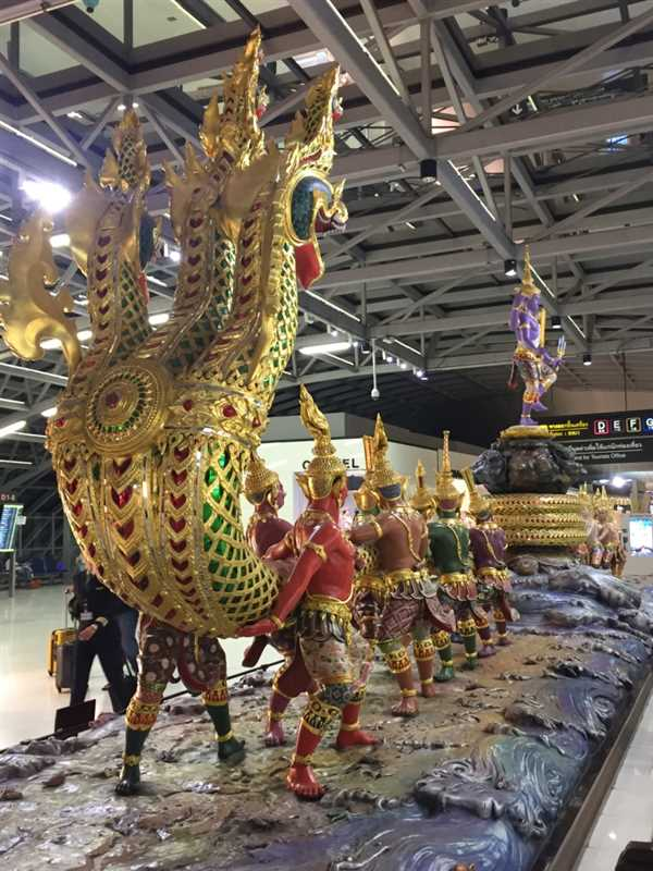 Scene of Samundra Manthan at Bangkok airport