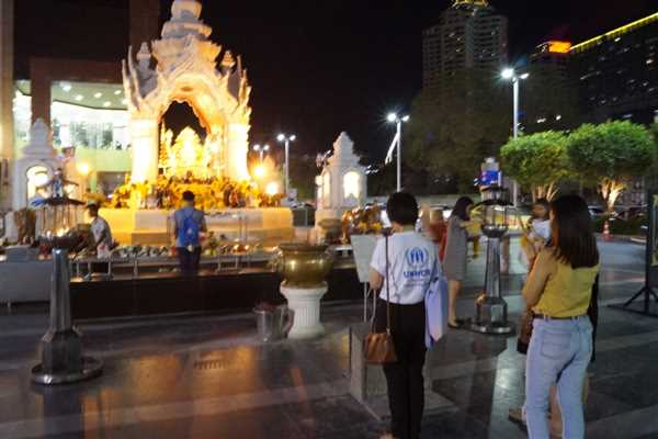 Temple in front of Isetan, Great shopping place inBangkok