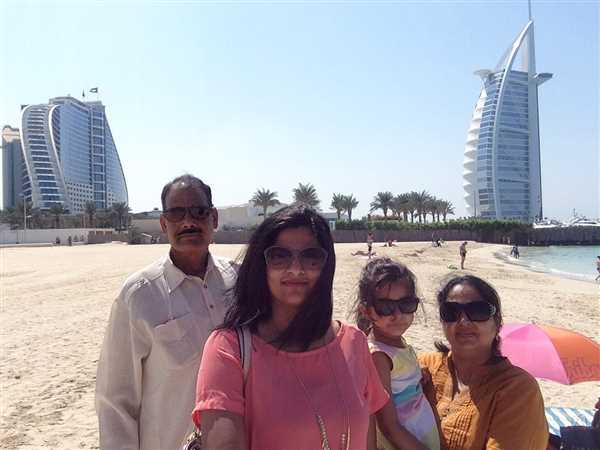 Best family picture with Burj Al Arab hotel  in background